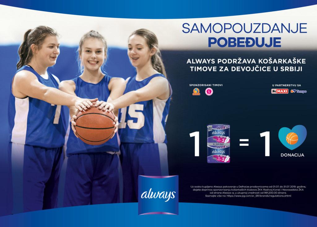 Always pomaže ženske tinejdž sportske timove u Srbiji