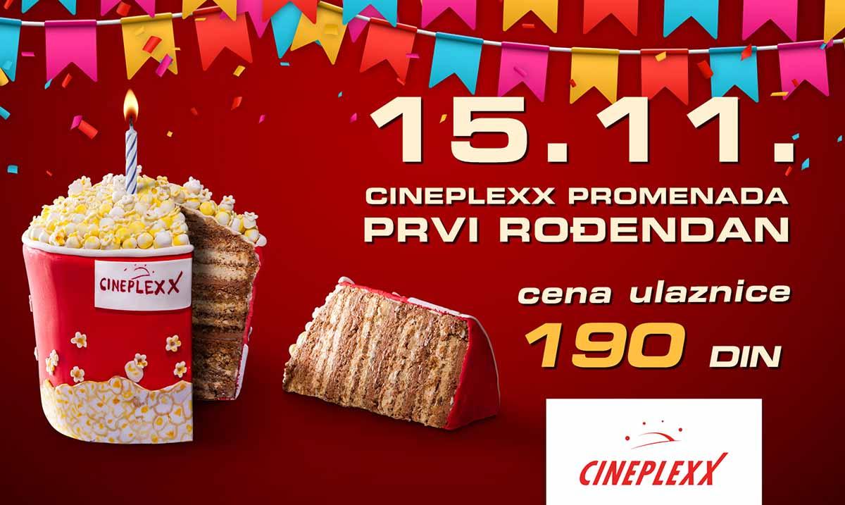 Cineplexx Promenada proslavlja svoj prvi rođendan 15. novembra uz cene ulaznica od 190 dinara