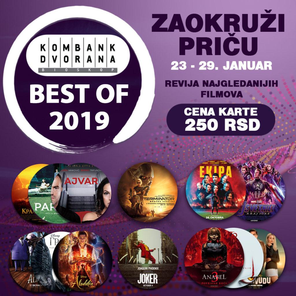 """Revija najgledanijih filmova u prošloj godini """"BEST OF 2019"""" u Kombank dvorana"""