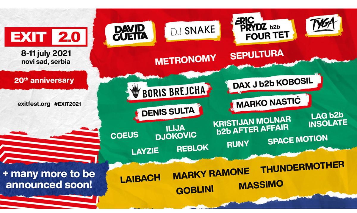 EXIT slavi dve decenije 2021. - na tvrđavu stižu David Guetta, DJ Snake, Tyga, Eric Prydz i Boris Brejcha!